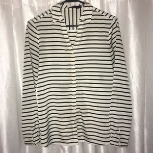 Cream w/ Black stripes v-neck button up shirt top